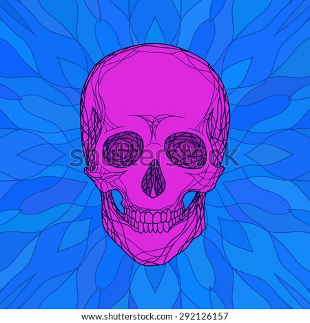 stylized human skull with