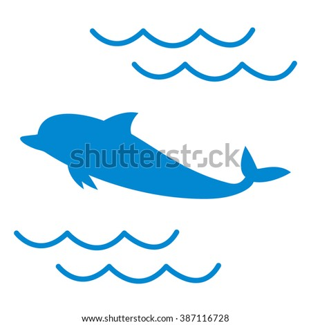 Stylized icon of a colored dolphin on a white background