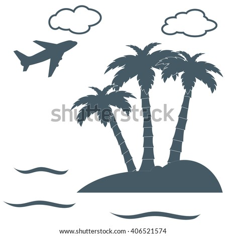 stylized icon palm trees on an