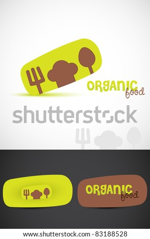 Stylized Icon such & business cards for Organic food, Vector EPS10.