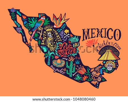 Stylized illustrated map of Mexico with elements of nature and culture