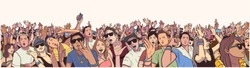 Stylized illustration festival crow at live concert partying and having fun in color panorama