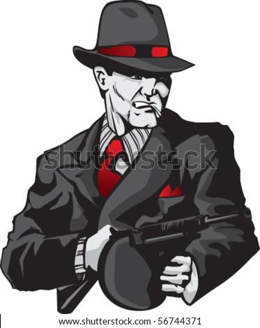 Stylized illustration of mobster