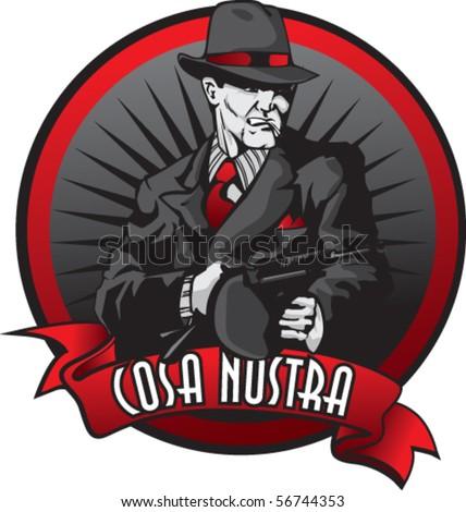Stylized illustration of mobster in burst.