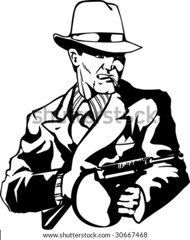 Stylized illustration of mobster with gun.