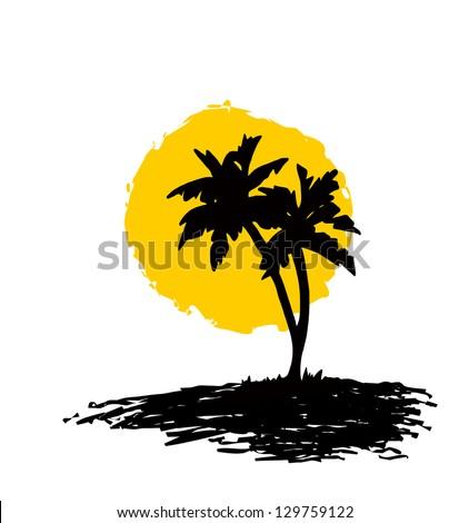 Palm Trees Silhouette Silhouette Sun Island Palms