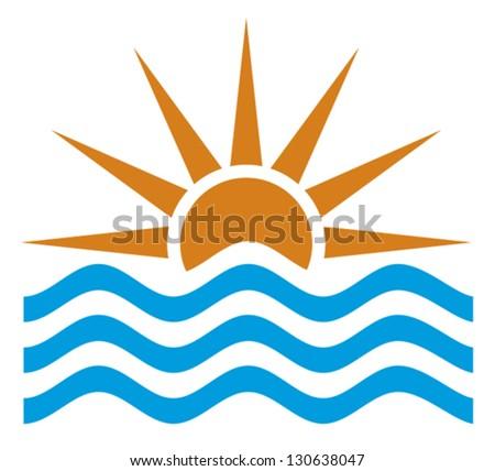 stylized illustration of sunset/sunrise (sunset view, sunrise set, sunset landscape, sunrise icon)