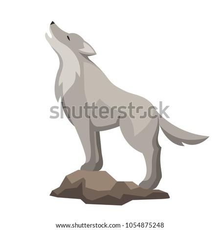 Stylized illustration of wolf. Woodland forest animal on white background.
