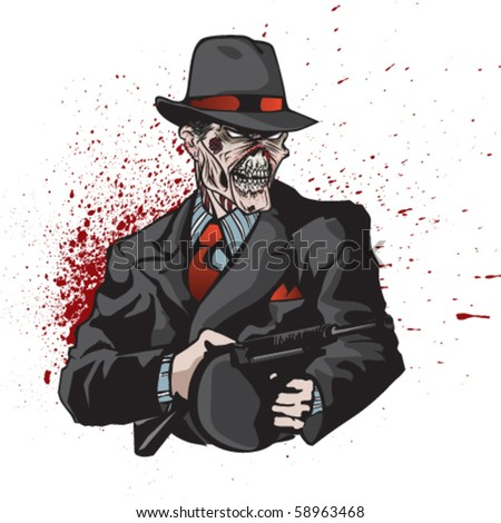 Stylized illustration of zombie mobster on bloody splatter.