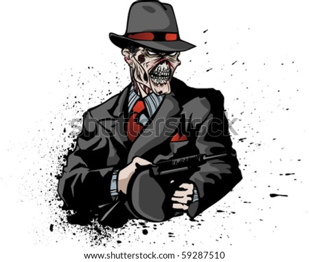 Stylized illustration of zombie mobster on inky or bloody splatter.