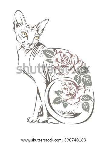 stylized image of a cat sphinx