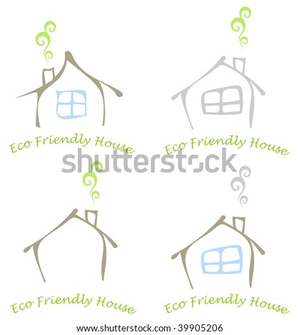 Stylized image of the eco friendly house with a window and a chimney. Colored vector illustration, icon.