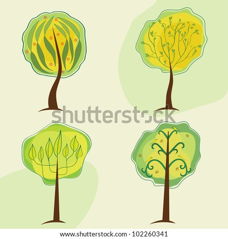 stylized image of the four trees on a light background