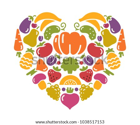 Stylized images of fruits and vegetables in the shape of a heart #1038517153