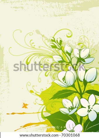 Stylized jasmine flowers on a grunge background