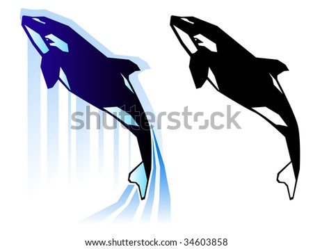 Stylized killer whale illustration in two color treatments