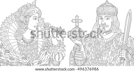 Stylized king (prince) with scepter and sword, young queen (princess) holding a rose. Freehand sketch for adult anti stress coloring book page with doodle and zentangle elements.