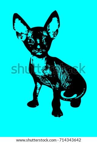 stylized kitten of the sphynx