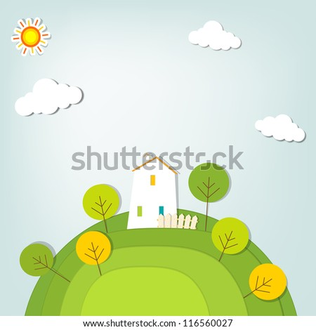 stylized landscape with a house on the hill