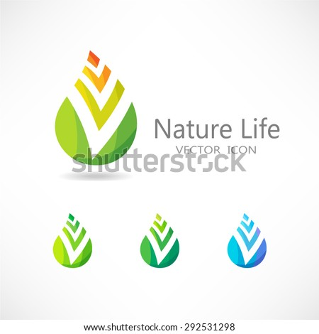 Stylized leaf icon. Logo design.