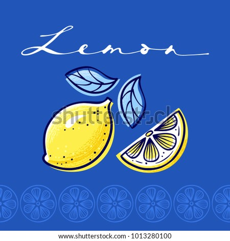 Stylized lemon with seamless border. Hand drawn vector Illustration