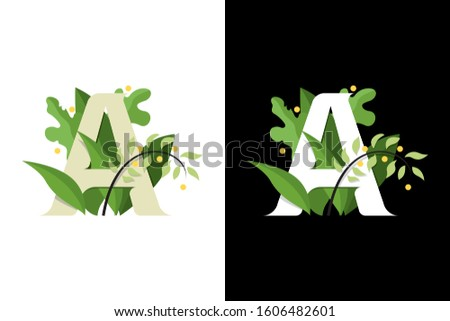 Stylized letter A. Composition of the letter A on the background of leaves and flowers. Lettering letters A
