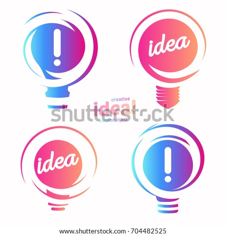 Stylized lightbulbs logo set, new idea and solution abstract symbol, flat bright cartoon incandescent light bulb collection. Isolated simple vector icon on vector background