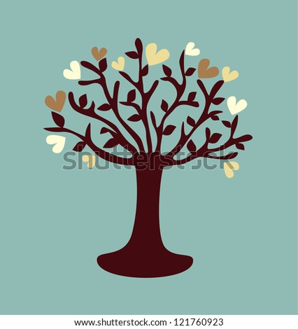 stylized love tree made of hearts - stock vector