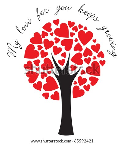 stylized love tree made of