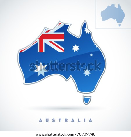 Stylized map of Australia. Vector. Editable.