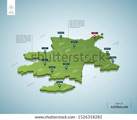Stylized map of Azerbaijan. Isometric 3D green map with cities, borders, capital Baku, regions, shadow.; Vector illustration. Editable layers clearly labeled.