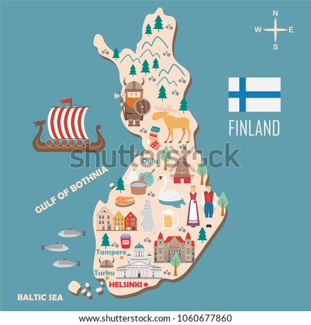 stylized map of finland travel
