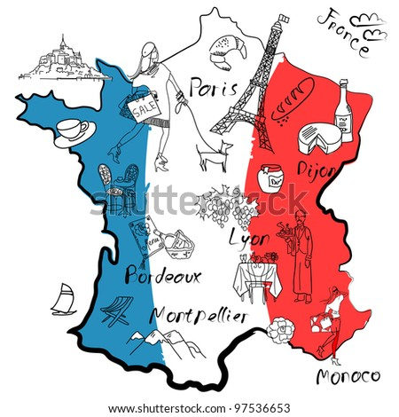 stylized map of france things