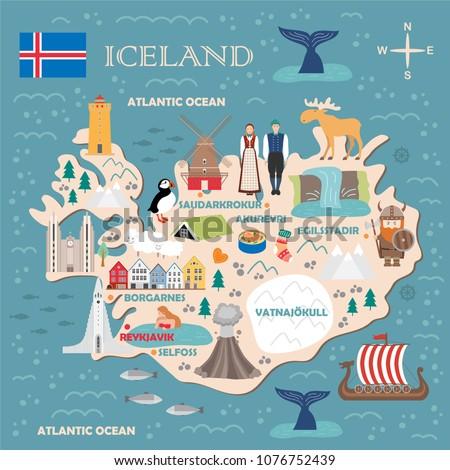 stylized map of iceland travel