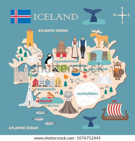 Stylized map of Iceland. Travel illustration with icelandic landmarks, architecture, national flag, and other symbols in flat style. Vector illustration