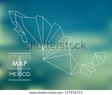stylized map of mexico map concept