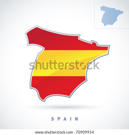 Stylized map of Spain. Vector. Editable.