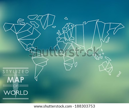stylized map of world world