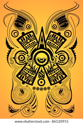Stylized Mayan symbol - tattoo, vector illustration - stock vector