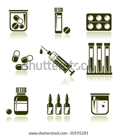 stylized medical symbols set