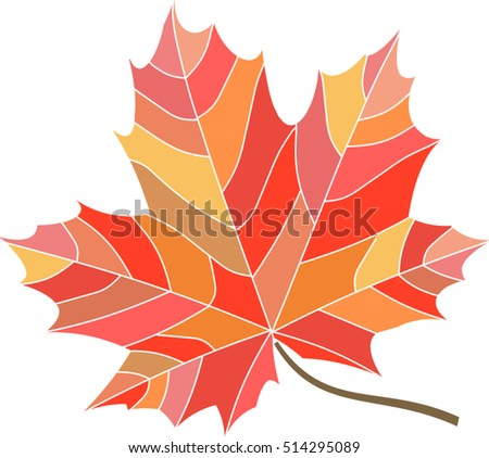 Stylized mosaic red maple leaf isolated on white background, thanksgiving logo, badge, background - Vector illustration icon