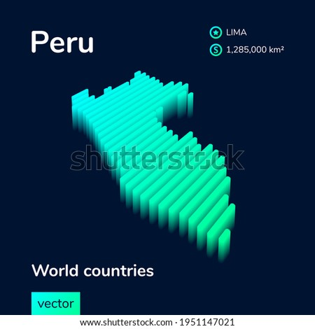 Stylized neon simple digital isometric striped vector Peru map, with 3d effect.  Map of Peru is in green, turquoise and mint colors on the dark blue background