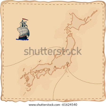 stylized old vector japan map