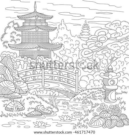 stylized oriental temple