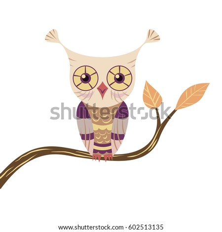 stylized owl sits on a tree
