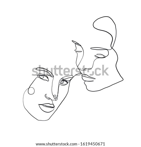 stylized pair portrait of two