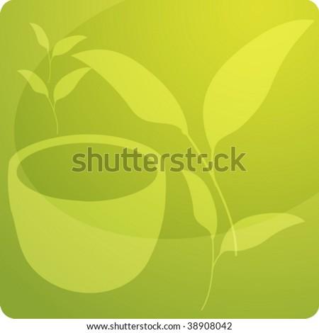 Stylized panel design illustration of green tea