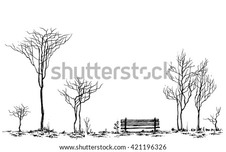 stylized park decor  bench and