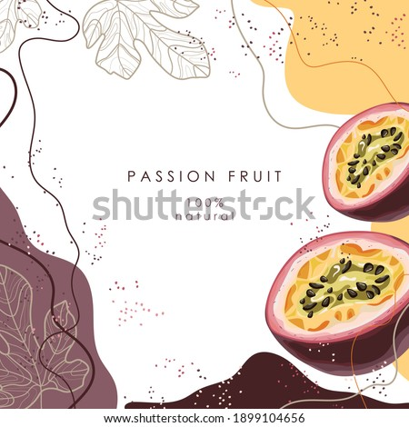 Stylized passion fruit on an abstract background. Ripe passion fruit. Postcard, banner, poster, sticker, print, advertising materials. Vector illustration.