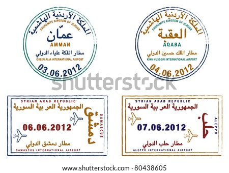 Stylized passport stamps of Jordan and Syria in vector format.